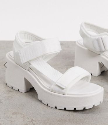 Open Toe Casual Style Plain Heeled Sandals