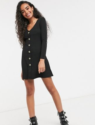 Short Casual Style Tight A-line V-Neck Long Sleeves Plain