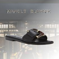 Manolo Blahnik Open Toe Casual Style Leather Elegant Style Sandals