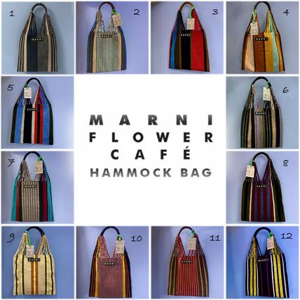 MARNI MARNI MARKET Stripes Casual Style Unisex Blended Fabrics A4 Totes