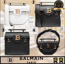 BALMAIN Plain Leather Logo Handbags