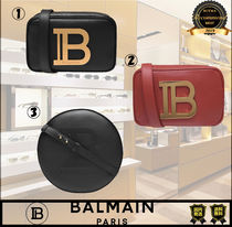 BALMAIN Plain Leather Logo Shoulder Bags