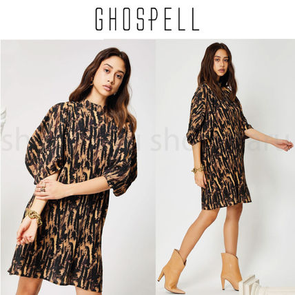 GHOSPELL Dresses Short Casual Style Street Style U-Neck Other Animal Patterns