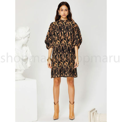 GHOSPELL Dresses Short Casual Style Street Style U-Neck Other Animal Patterns 3