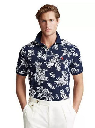 Button-down Tropical Patterns Short Sleeves