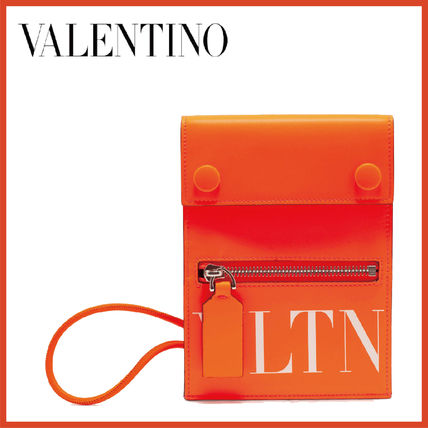 VALENTINO Unisex Leather Card Holder Logo Wallets & Card Holders