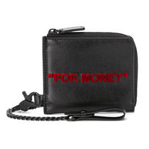 Off-White Street Style Chain Leather Folding Wallet Long Wallet  Logo