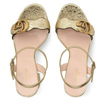 GUCCI GG Marmont Leather Logo Heeled Sandals