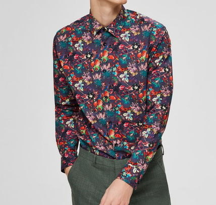 Long Sleeves Other Animal Patterns Cotton Shirts