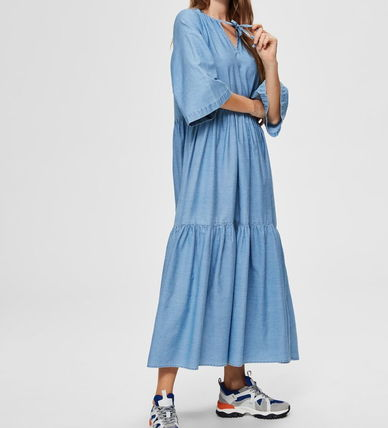 Casual Style Maxi Flared Cropped Plain Cotton Long