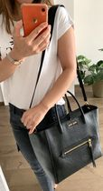 MiuMiu MADRAS Casual Style 2WAY Plain Leather Office Style Totes