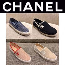 CHANEL ICON Platform Plain Toe Casual Style Blended Fabrics Street Style