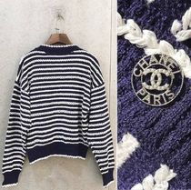 CHANEL ICON Stripes Casual Style Long Sleeves Cotton Medium Office Style