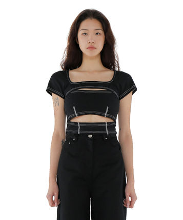 Short Plain Cotton Short Sleeves Street Style Cropped
