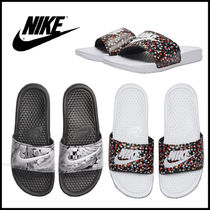Nike BENASSI Flower Patterns Casual Style Street Style Shower Shoes Logo