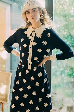 Short Flower Patterns Casual Style A-line Long Sleeves
