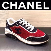 CHANEL SPORTS Blended Fabrics Street Style Plain Handmade Logo Sneakers