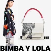 bimba & lola Tropical Patterns Casual Style Leather Logo Shoulder Bags