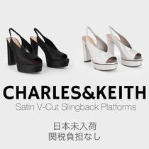 Charles&Keith Open Toe Platform Casual Style Plain Block Heels Party Style