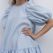 CECILIE BAHNSEN Short Flared Plain Elegant Style Puff Sleeves Tired Dresses