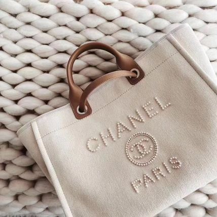CHANEL DEAUVILLE Casual Style Canvas Blended Fabrics 2WAY Chain Plain Leather