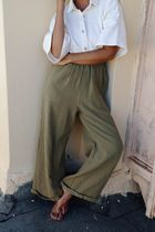 Maurie and Eve Platinum Casual Style Street Style Plain Cotton Long Pants