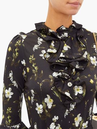 Flower Patterns Casual Style Tight A-line Street Style