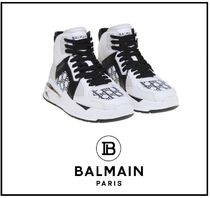 BALMAIN Rubber Sole Lace-up Casual Style Plain Leather Logo
