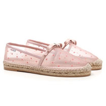 RED VALENTINO Dots Plain Toe Rubber Sole Casual Style Blended Fabrics Logo
