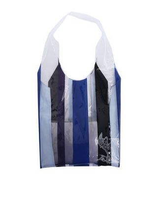 Stripes Casual Style PVC Clothing Bags