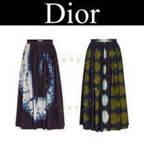 Christian Dior Casual Style Pleated Skirts Street Style Tie-dye Cotton Long