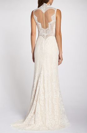 TADASHI SHOJI A-line Sleeveless Long High-Neck Wedding Dresses