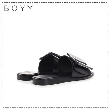 Open Toe Square Toe Casual Style Plain Leather Office Style