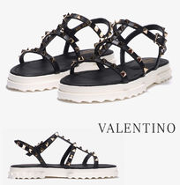VALENTINO Platform Casual Style Street Style Leather Party Style