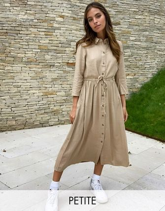 Linen Cropped Plain Medium Shirt Dresses Dresses
