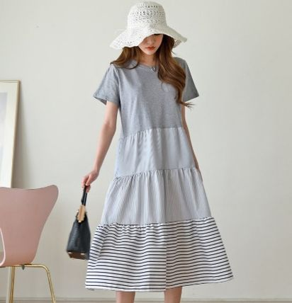 Casual Style A-line Plain Cotton Long Short Sleeves