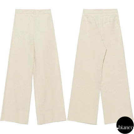 Jil Sander Plain Cotton Long Elegant Style Cropped & Capris Pants