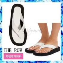 The Row Open Toe Rubber Sole Casual Style Street Style Plain Leather