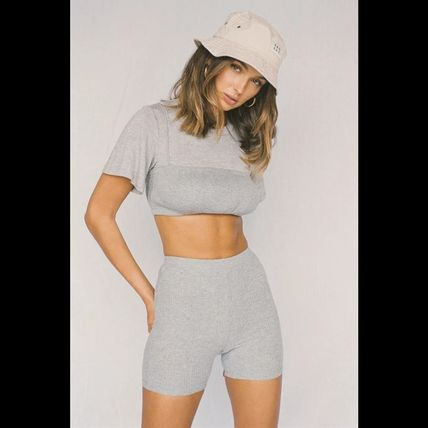Short Street Style Plain Cotton Short Sleeves Cropped
