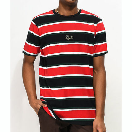 Crew Neck Stripes Street Style Cotton Short Sleeves Logo