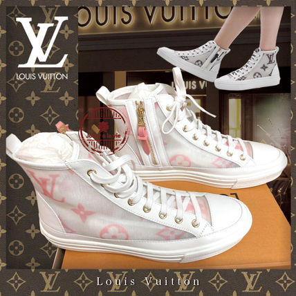 Louis Vuitton Logo Plain Toe Rubber Sole Casual Style Blended Fabrics