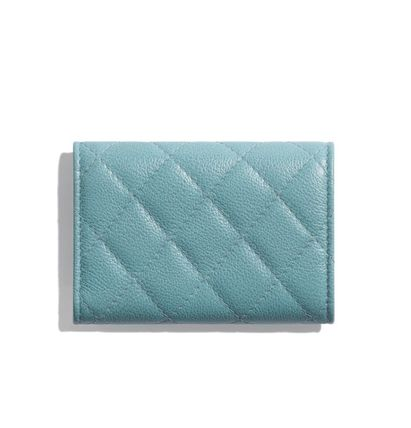 CHANEL Calfskin Leather Folding Wallet Logo Icy Color