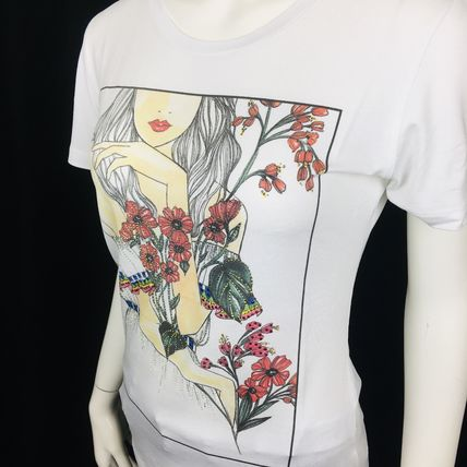 Flower Patterns Short Sleeves With Jewels T-Shirts