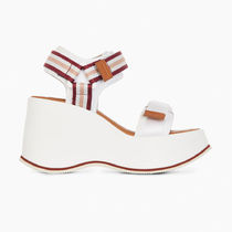 See by Chloe Stripes Open Toe Platform Rubber Sole Casual Style