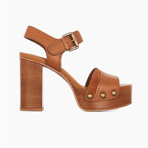 See by Chloe Open Toe Platform Casual Style Suede Blended Fabrics Plain