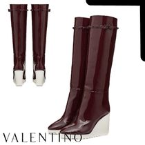 VALENTINO Platform Round Toe Rubber Sole Casual Style Plain Leather