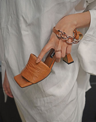 Wedge Open Toe Casual Style Studded Street Style Leather