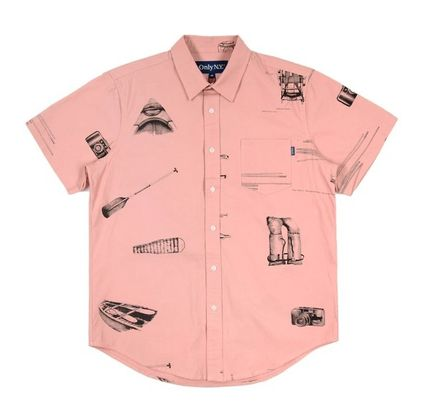 Unisex Street Style Cotton Short Sleeves Front Button