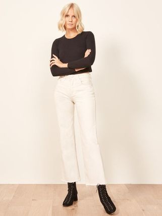 Plain Cotton Long Jeans