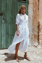 Maurie and Eve Platinum Maxi V-Neck Plain Cotton Long Short Sleeves Party Style